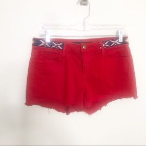 Joes Jeans Cherry Red Cut Off Jean Shorts